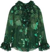 Anna Sui Iridescent Moonlight Garden Fil Coupé Silk-blend Chiffon Blouse