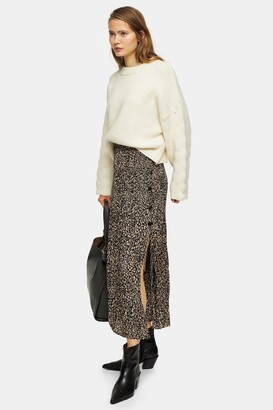 Topshop Womens Tall Leopard Side Button Pleated Midi Skirt - Brown