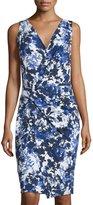 T Tahari Nessa Sleeveless Printed Dress W/Twist, Wild Bird