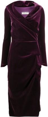 Le Petite Robe Di Chiara Boni Wrap-Front Velvet Midi Dress