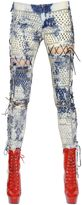 Ashish Lace-Up Washed & Studded Denim Jeans