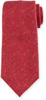 Isaia Neat Flower-Printed Silk Tie