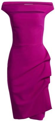 Chiara Boni Melania Off-The-Shoulder Side Ruched Cut Out Sheath Dress