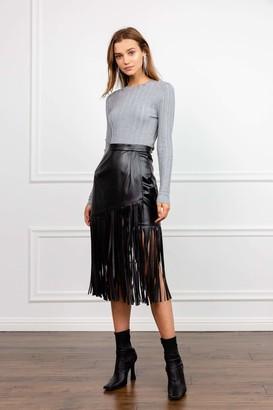 J.ING The Fringe Black leather Midi Skirt