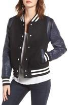 Vigoss Women's Wool & Faux Leather Baseball Jacket