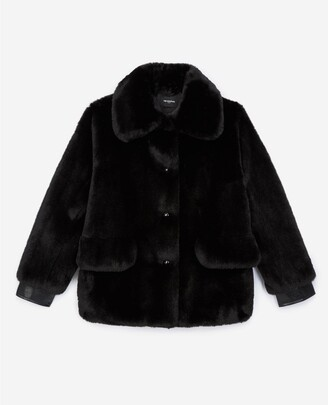 The Kooples Short black faux fur coat