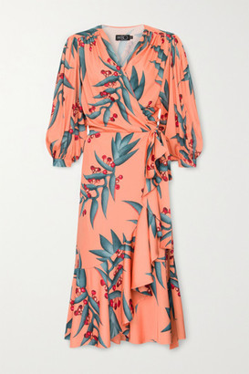PatBO Ruffled Floral-print Crepe Midi Wrap Dress - Coral