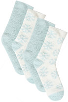 Yours Clothing 2 PACK Mint & White Snowflake Print Cosy Socks