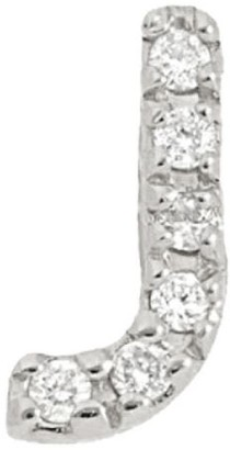Nephora 14K White Gold & Diamond Initial J Single Stud Earring