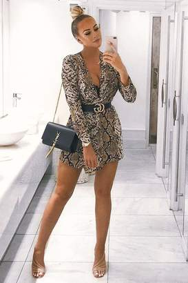 I SAW IT FIRST Grey Snake Print Plunge Neck Knot Front Dress