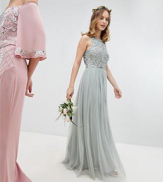 Maya Petite Sleeveless Sequin Bodice Tulle Detail Maxi Bridesmaid Dress With Cutout Back-Green