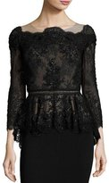 Marchesa Off-the-Shoulder Beaded Lace Peplum Top, Black