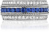 Penny Preville 18k White Gold Layered Diamond & Sapphire Band Ring, Size 6.5