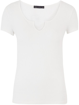 Marks and Spencer Ribbed Notch Neck Fitted Short Sleeve Top