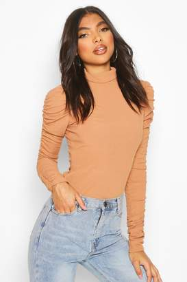 boohoo Tall Roll Neck Ruched Sleeve Rib Sweater