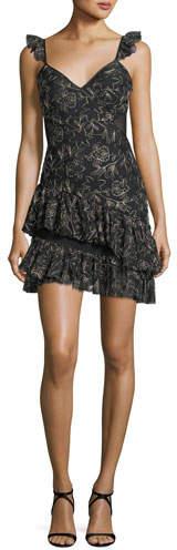 Cinq à Sept Enid V-Neck Sleeveless Embroidered Mini Dress