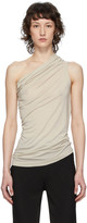 Rick Owens Lilies Grey Heavy Jersey One Shoulder Tank Top
