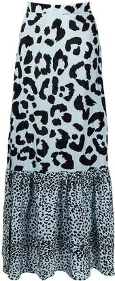 Être Cécile Leopard-Print Tiered Skirt