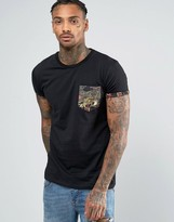 Criminal Damage T-shirt With Dragon Print Pocket And Sleeves