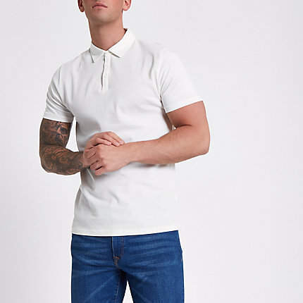 River Island Mens Ecru waffle slim fit polo shirt