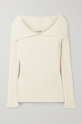Lanvin - Cape-effect Ribbed Wool Sweater - Off-white