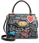 Dolce & Gabbana Welcome Graffiti Leather Satchel - Black