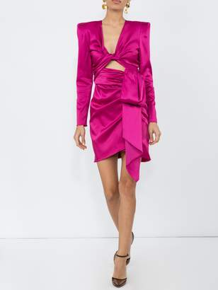 Dundas satin long-sleeve cut-out dress