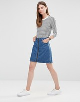 Only Zip Front Denim Skirt - ShopStyle