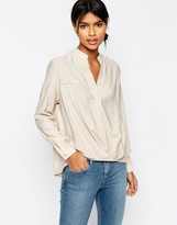 Asos Casual Tuck Detail Blouse in Linen Mix