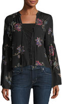 Vintage Havana Floral-Embroidered Lace-Up Blouse