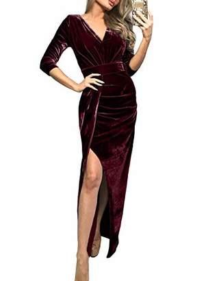 Actloe Women V Neck 3/4 Sleeve Ruched Side Slit Long Velvet Dress