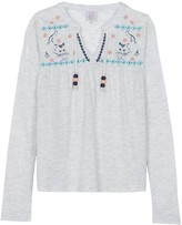 Little Karl Marc John Tamamy Embroidered Henley Neck Blouse