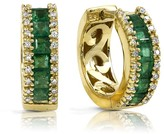 Effy Jewelry Effy Brasilica 14K Yellow Gold Emerald and Diamond Earrings, 1.53 TCW