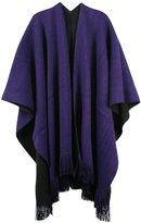 Honeystore Women's Knit Tassel Cashmere Poncho Reversible Shawl Cardigan Sweater