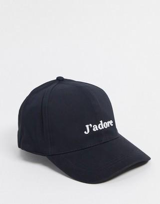 ASOS DESIGN baseball cap with J'adore logo in black