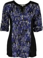 Notations Black & Blue Abstract Keyhole Top