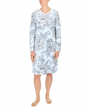 Miss Elaine Floral-Print Fleece Nightgown