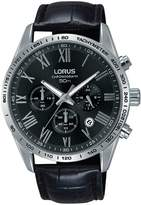 Lorus Lorus Black and Silver Detail Chronograph Dial Black Leather Strap Mens Watch