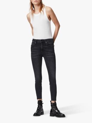 AllSaints Dax High Rise Studded Skinny Jeans, Rock Black