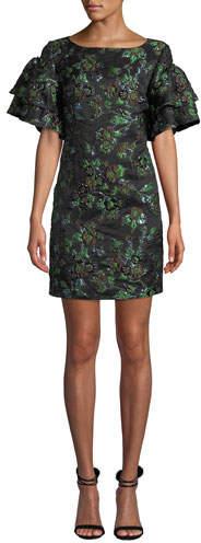 Badgley Mischka Brocade Exaggerated-Sleeve Dress