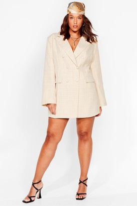 Nasty Gal Womens Let's Check It On Plus Blazer Dress - Beige - 16, Beige