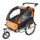 Baby Diego 2-in-1 Double Bike Trailer and Jogger Stroller in Orange