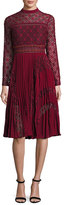 Self-Portrait Medallion-Lace Midi Dress w/Plissé; Skirt, Burgundy