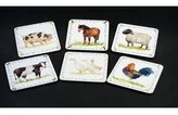 Leonardo Set Of 6 Farmyard Laminated Coasters, Sheep, Pony, Geese, Cow, Cockerel And Pig