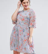 ASOS Curve ASOS CURVE PREMIUM Pretty Skater Dress with Sheer Fluro Floral Embroidery