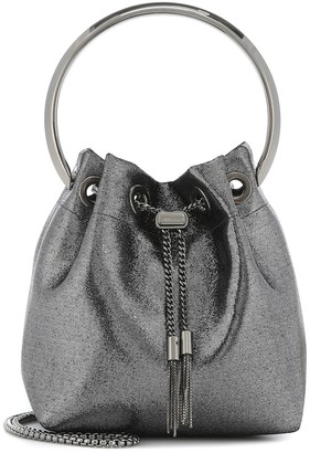 Jimmy Choo Bon Bon metallic bucket bag