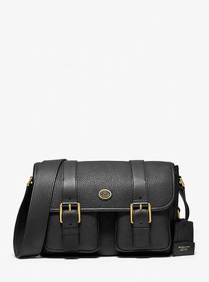 Michael Kors Collection MK Simone Pebbled Leather Messenger Bag - Black - Michael Kors