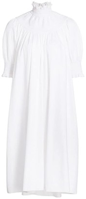 ADAM by Adam Lippes Smocked Highneck Dress