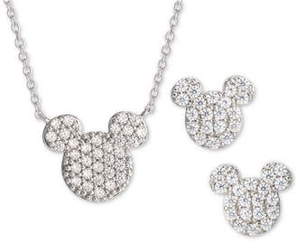 Disney Children 2-Pc. Set Cubic Zirconia Pave Mickey Mouse Pendant Necklace & Matching Stud Earrings in Sterling Silver