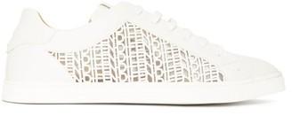 Fendi Laser-cut Logo Leather Trainers - White
